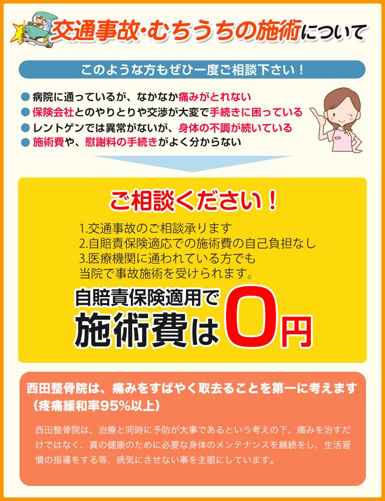 交通事故施術は自賠責保険適用で0円